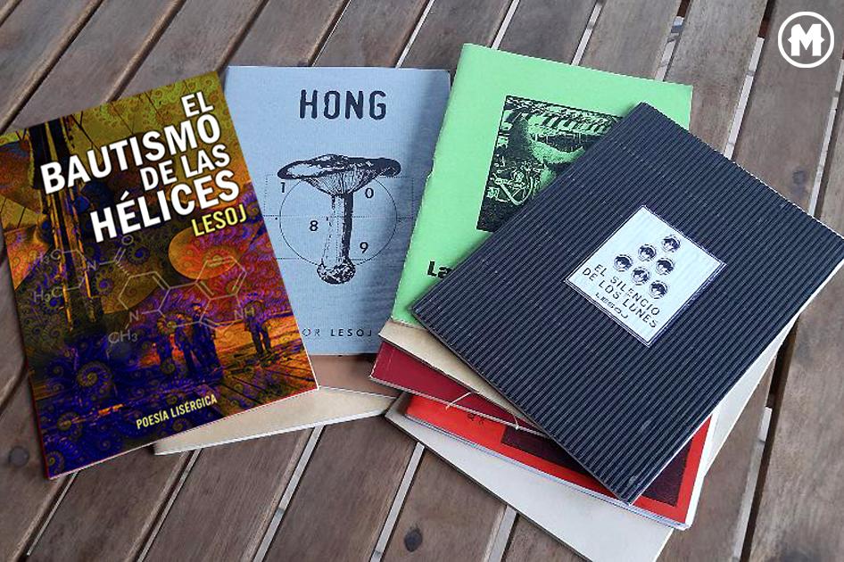imágenes de varios libros del artista llamado Lesoj (poesía, grafismo, collages)
